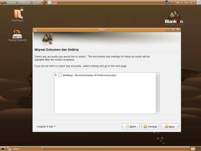Pilihan migrasi dokumen dan setting