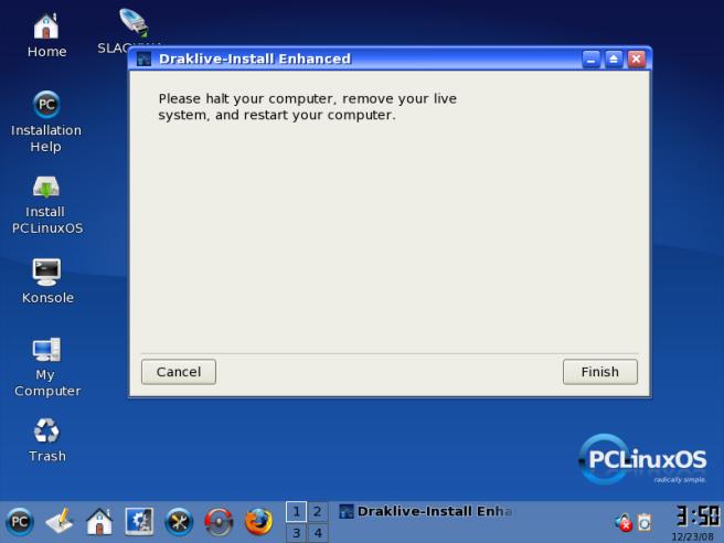 Pilihan untuk restart komputer
