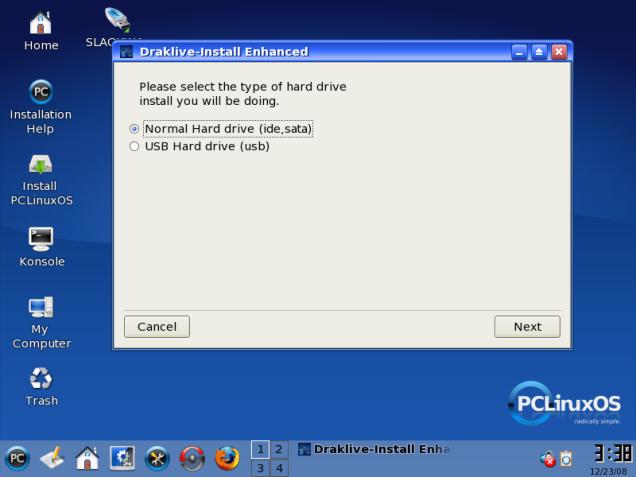 Pilihan Instalasi, pada HDD atau USB