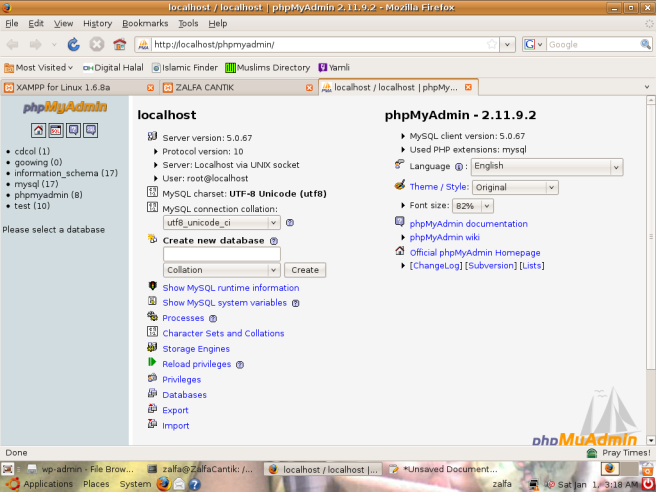 Membuat Database denan menggunakan phpMyadmin