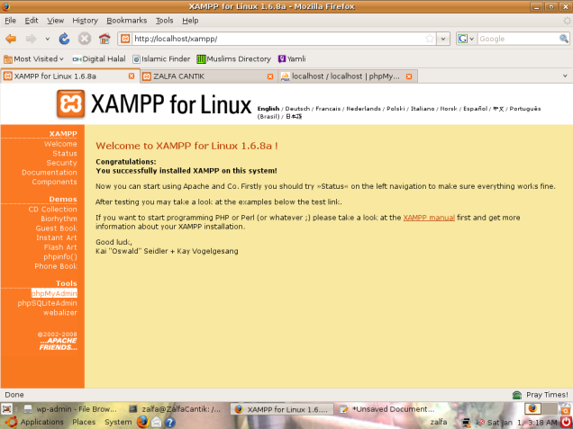 Tampilan Wellcome Screen XAMPP