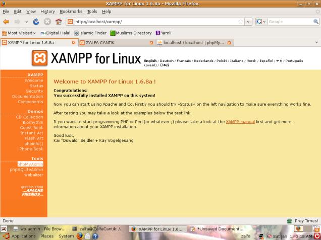 Tampilan Wellcome Screen XAMPP